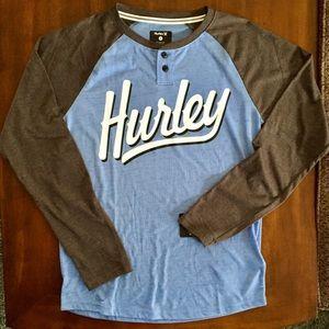 Hurley light blue Henley. Baseball style